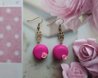 Delicious raspberry macarons in polymer clay earrings / gift idea