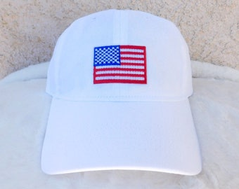 4th of July Dad Hat, American Flag Dad Hat, Fourth of July Baseball Hat, Dad Hat, Embroidered American Flag Dad Hat, White July 4th Dad Hat