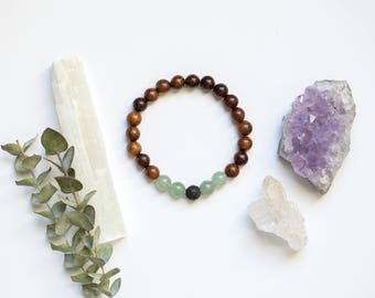 Rosewood and Green Aventurine | Essential Oil Diffuser Bracelet | Energy Healing