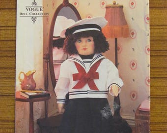 VOGUE CRAFT PATTERN - 8647 Doll Collection by Linda Carr Sailor Doll Clothes incl. Hat with Face Transfer