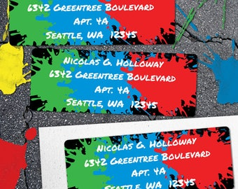 "Printable Paint Splatter Paintball Address Labels, Personalized 2 5/8"" x 1"" Address Labels, Editable PDF, Instant Download"