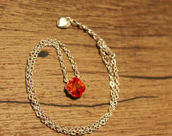Swarovski 12mm Fire Opal Necklace