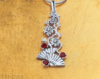 Flamenco Pendant Necklace | 925 Sterling Silver With Natural Red Garnet Gemsone