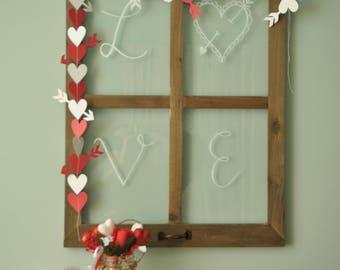 Heart String Banner, Heart Banner, Valentine's Day Banner, Valentine's Day Decor, Red and White Banner, Sewn Paper Banner