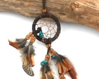 Mini Brown Dream Catcher / Turquoise Stones / Handmade Dreamcatcher / Car Dream Catcher / Dorm Decor / One of a Kind / Gift for Him
