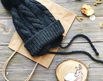 Black Baby merino hat Organic baby clothes Baby reveal box Organic newborn hat Knit earflap hat Merino wool baby hat Woolen hat Crochet