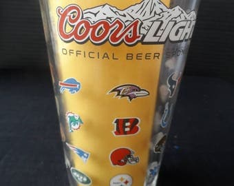 "Beer Glass saying  ""Coors Light Special Beer Sponsor of the NFL"" on both side including Logos For All NFL Teams  Collectible    1393"