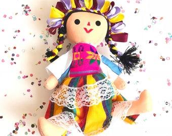 Mexican doll, rag doll, maria doll, handmade doll, cloth doll, art doll, authentic mexican doll, fiesta decorations, mexican fiesta decor