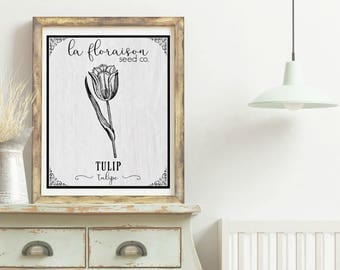 French Cottage Style Seed Packet Printable - Tulip