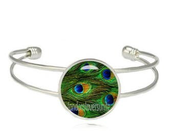 Peacock Feather Cuff Bangle Peacock Feather Bracelet Peacock Jewelry Wander Jewelry