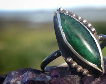 Jade Ring, Sterling Ring, Silver Ring, Handmade, One of a Kind, Statement Ring