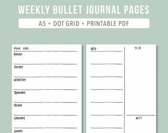PRINTABLE Bullet Journal Weekly // 2017 Planner weekly A5 printable planner Bullet journal printable A5 dot grid journal undated planner