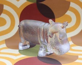 Magnificent vintage crystal glass XL figurine / sculpture: Hippo. Designed by Bertil Vallien for Kosta Boda zoo serie, Sweden Scandinavian.