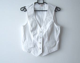 Women's Striped White Vest Romantic White Waistcoat Classic Office Vest Medium Size Everyday Vest Student Vest
