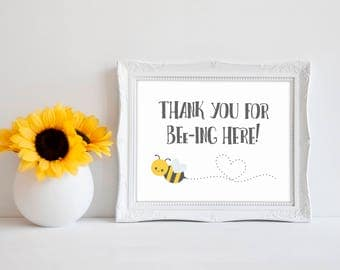 "Thank You For Beeing Here 8""x10"" Bee Baby Shower Decorations 