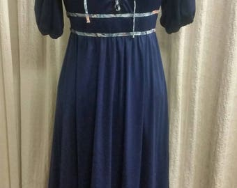 70s Midnight Blue Prairie/Maxi Dress | International Ladies Garment Workers Union | Size 6/8 | Lace up Front