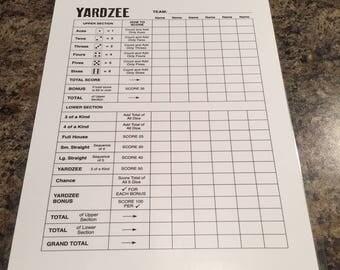 """Double sided laminated Yardzee scorecard - 8.5"""" x 11"""""""