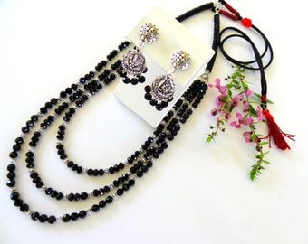 Black Bead Long Necklace, Layered Long Necklace, Black Layered Necklace, Black and Silver Long Necklace, Black Jhumka, black beaded earring.