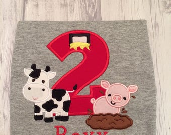Farm birthday shirt - Animal birthday shirt - First birthday shirt - Second birthday shirt - Farm themed shirt - Barnyard Birthday