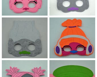 Trolls Felt Mask - Birthday Party Favors. Great for Kids Boy Girl Child Toddler Gift. Poppy Branch Cooper Bridget Biggie DJ Suki Guy Diamond