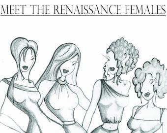 Printable RENAISSANCE FEMALES Colouring Page