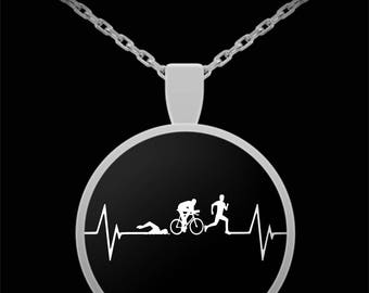 Triathlon Runner Heartbeat Necklace