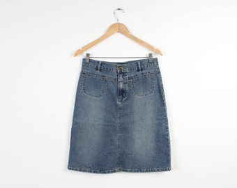 Bleached Denim Skirt Vintage Pencil Knee Lenght Navy Dark Blue Pencil Denim Jeans Skirts Women Low Waist Washed Skirt 90s style