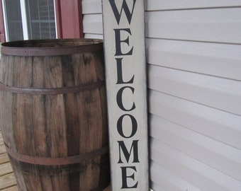 Welcome Sign, Wood Sign, Vertical Sign, Farmhouse Decor, Porch Sign, Mud Room Sign, Entrance Sign, Distressed, Fireplace Sign, Entryway Sign