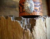 The Southwest Effect Brown Leather Bracelet or Tooled Leather Cuff