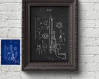 Colt Revolver 1850 Patent - Firearm, Gun, Guns, Guns Gift, Art Print, Wall Art, Art, Cute Gift