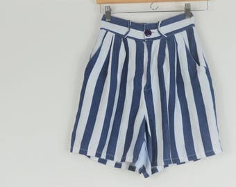 1980 1990 Vintage Blue and White High Waist Shorts- Beach Shorts