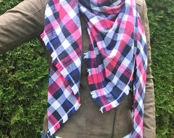 blanket scarf, plaid tartan scarf, scottisch scarf, plaid blanket scarf, pink blue plaid scarf, oversized tartan plaid scarf