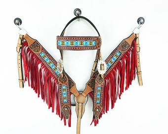 Navajo Beaded Red Fringe Headstall Leather Western Horse Trail Bridle Breast Collar Plate Barrel Racer Cowgirl Tack Set