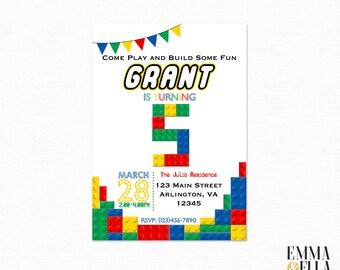 Lego Birthday Party Invitation, Lego Party, Invite, Lego Invitation, Lego Invitations, Birthday, Lego Printable Invitation, 120