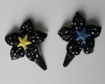 Flower hair clip black and grey stars