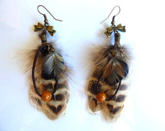 Earrings feathers pheasant - feather jewelry and wood - gift women - country bead