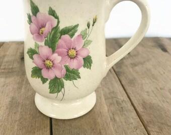 Vintage Wildflower Floral Speckled Mug 1980s