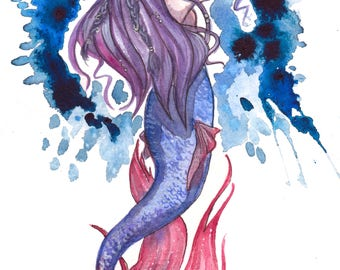 Splash Mermaid - Mermaid Watercolor Painting, Watercolor Print, Mermaid Art Print, Wall Art Prints, Painting Print, Fine Art Prints
