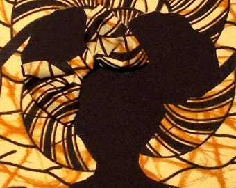 Black Brown Abstract African Wax Print Girl's 8x10 Fabric Art