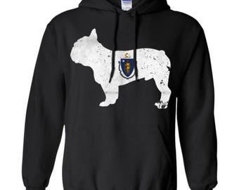 French Bulldog Hoodie, Massachusettes State Flag Hoodie, French Bulldog Shirt, French Bulldog Sweatshirt, French Bulldog Hooded Shirt