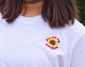 "Embroidered T-Shirt – ""You Are My Sunshine"""