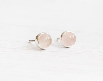 Rose Quartz Earrings, Blush pink earrings, Delicate earrings, Gemstone stud earrings, Bridesmaid gift, Gift for her, Rose quartz jewelry