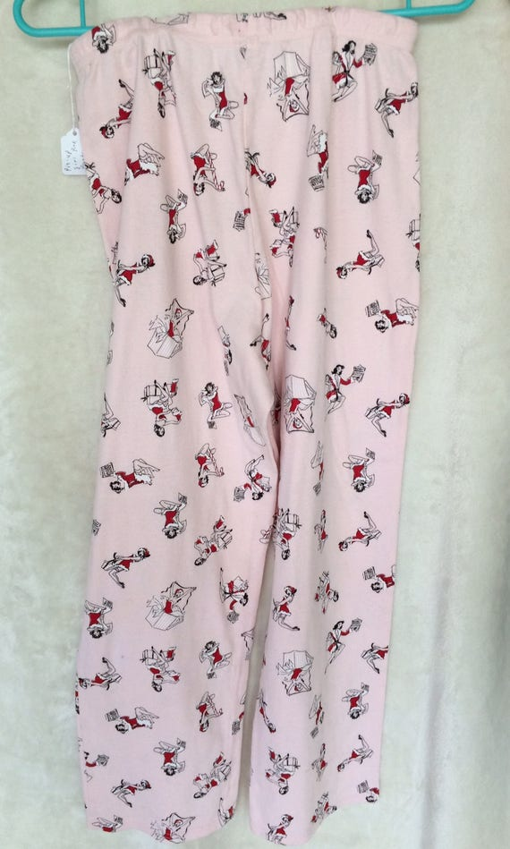 P J Bottoms,Pink with Pinup Santa Girls,Size Small.