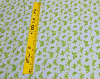 Green Butterflies on Blue Cotton Fabric