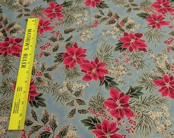 Let it Glow-Poinsettia on Green Cotton Fabric from Sentimental Studios for Moda Fabrics
