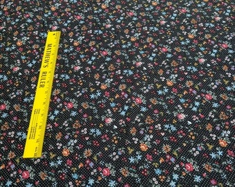 Flower Showers on Black Cotton Fabric from Concord House