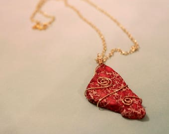 Fuchsia Stone Pendant Necklace