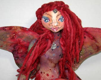 Fantasy Cloth Art Doll, Butterfly Fairy Soft Sculpture, Red Stars Shelf Sitter, JDCreativeDolls