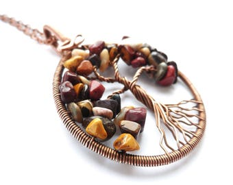 Tree-of-Life pendant Family tree necklace Mookaite pendant Australian jasper necklace  Wire wrapped jewelry Gift for her Protection amulet