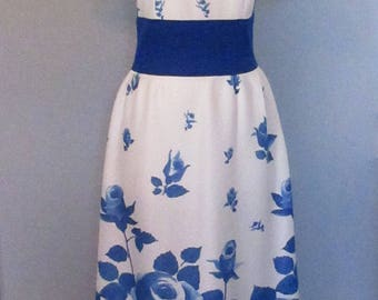 Blue and White Rose Print Maxi Dress